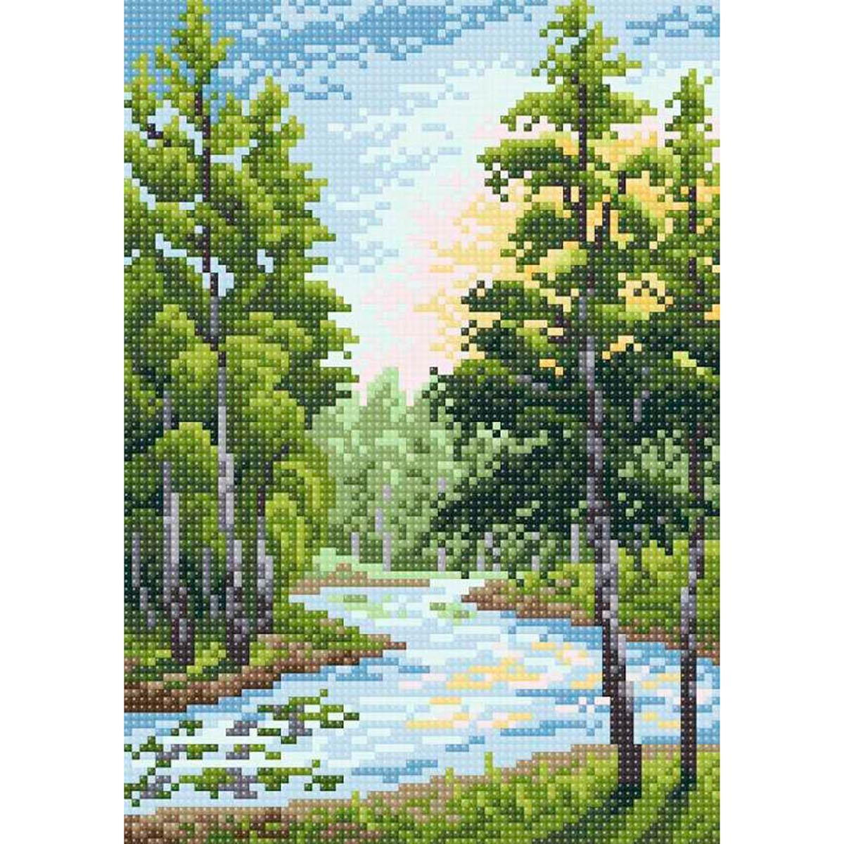МС 022 Алмазная мозаика 'Летний пейзаж'19*27см Brilliart