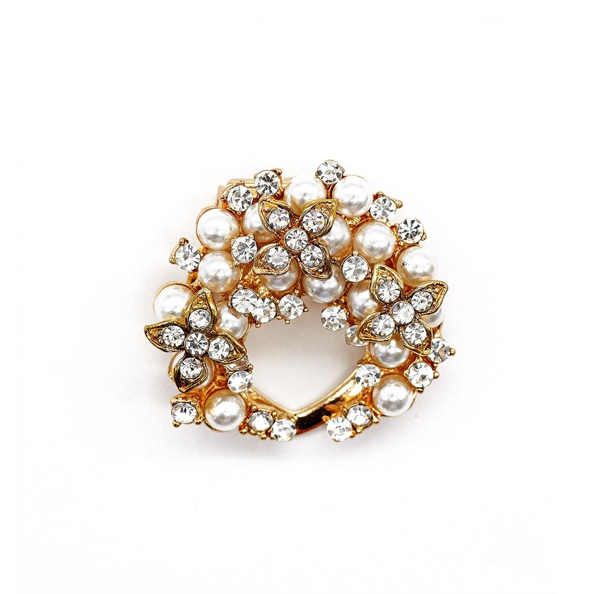 1353810 Зажим для платка 'Жемчужное соцветие', цвет белый в золоте