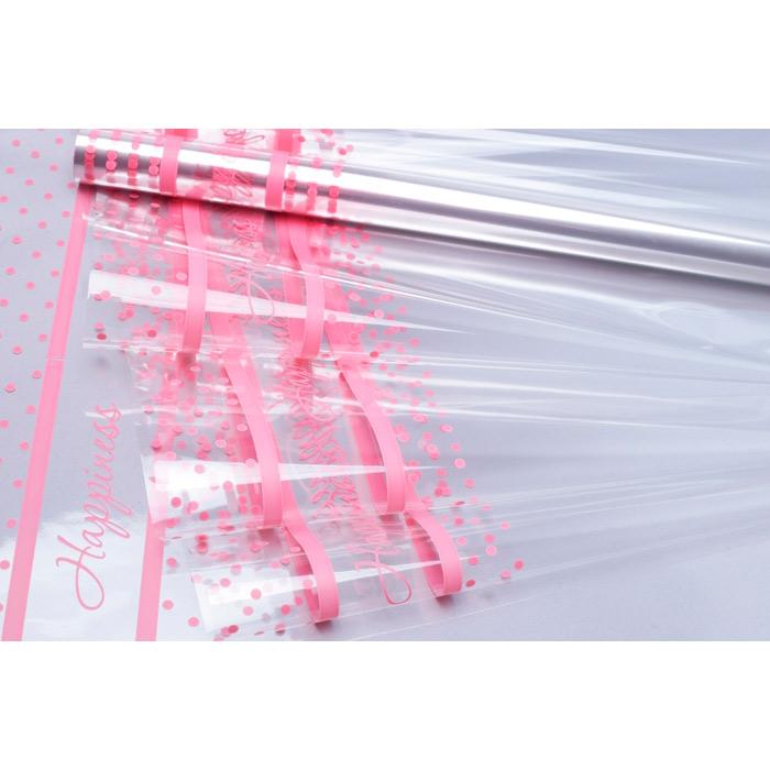 74906 Пленка цветная Счастливый горошек 70см*10м розовый туманный