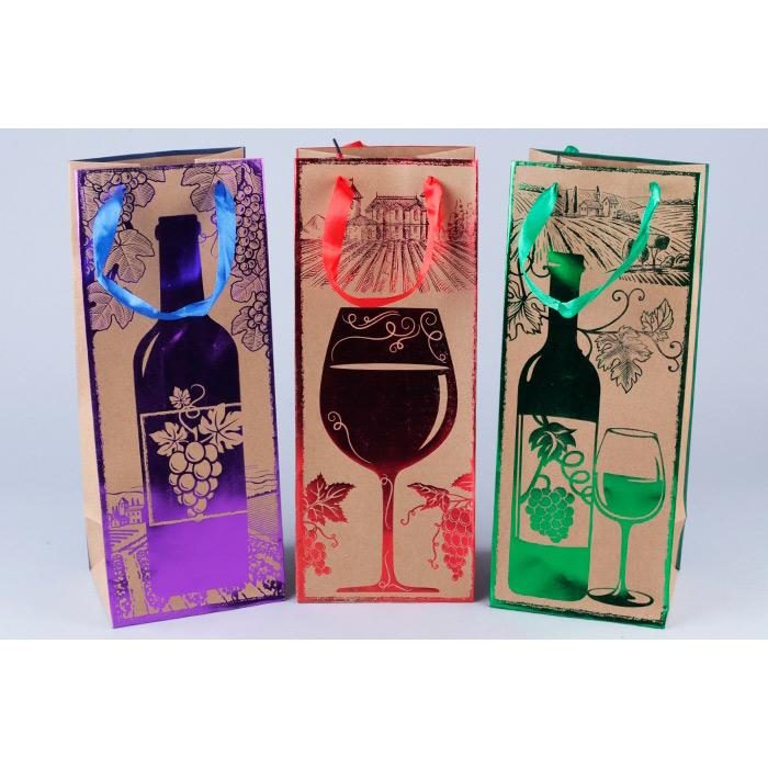 71355 Сумочка подарочная крафт под бутылку 14*35*11см с тиснением