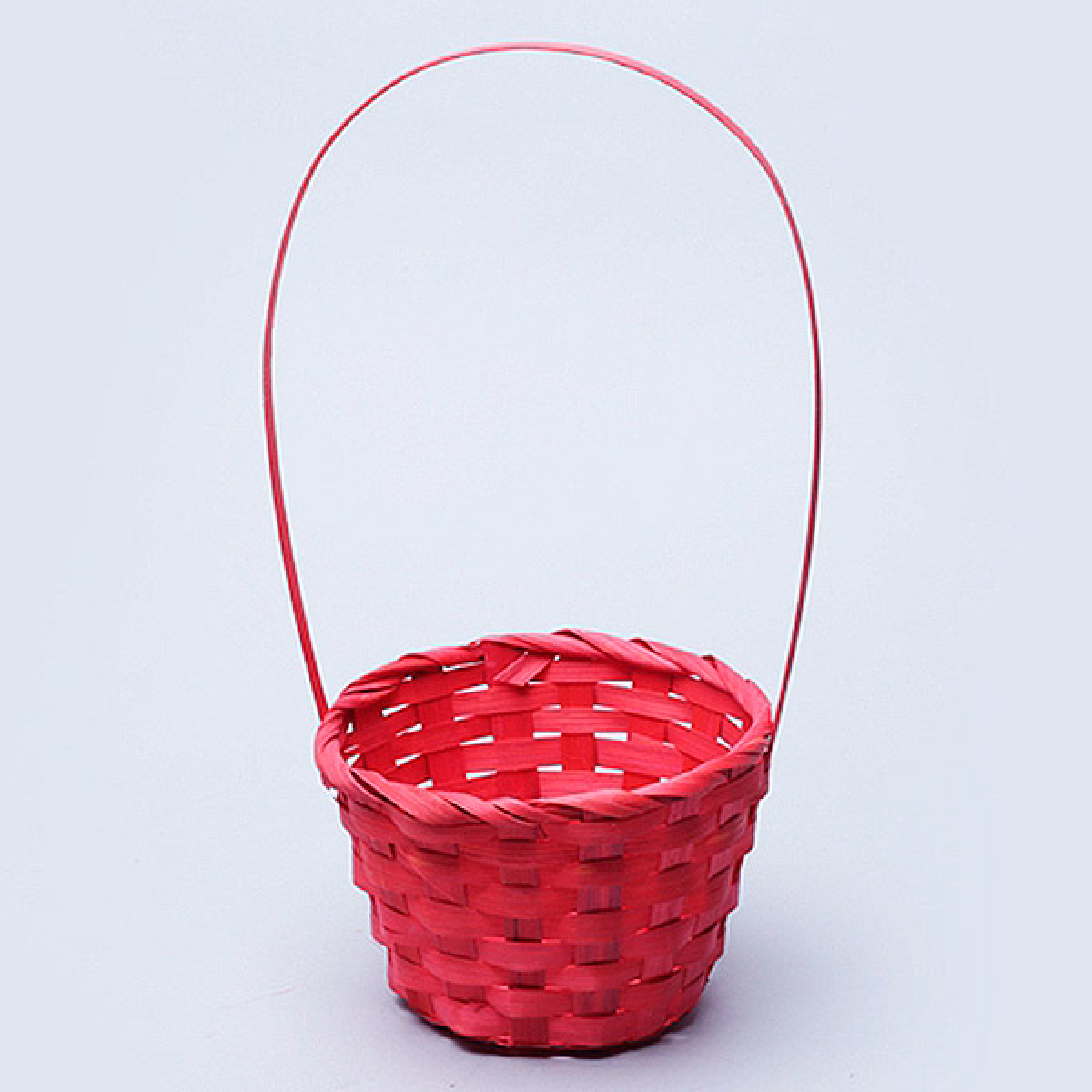 47852 Корзина плетеная бамбук D13*9.5/28см красная