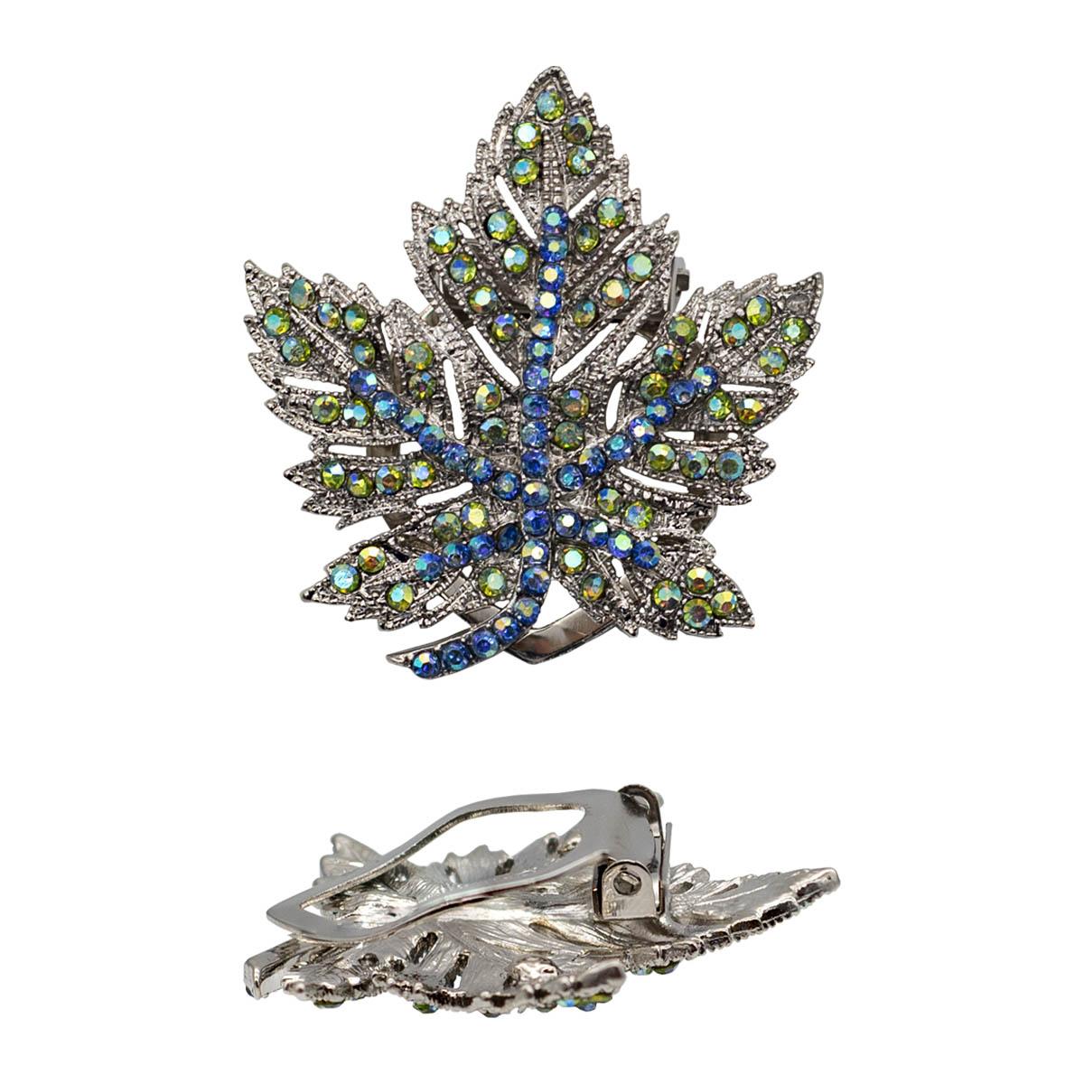 4687500 Зажим для платка 'Лист', цвет радужно-синий в серебре