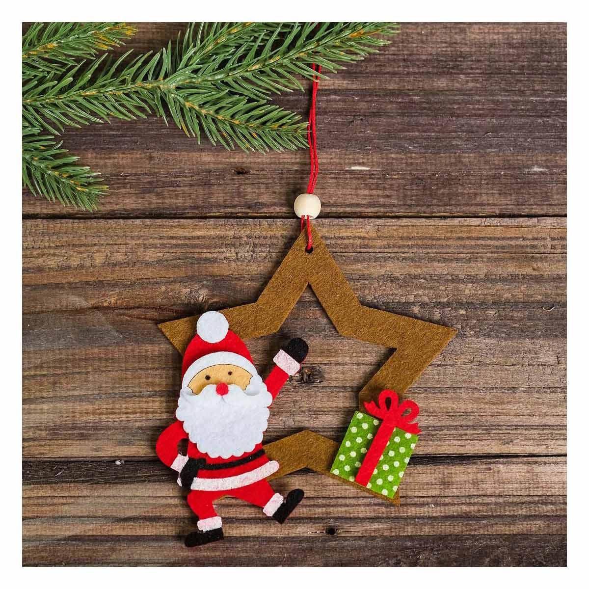 4243373 Набор для создания подвесной елочной игрушки из фетра 'Дед мороз и звезда'