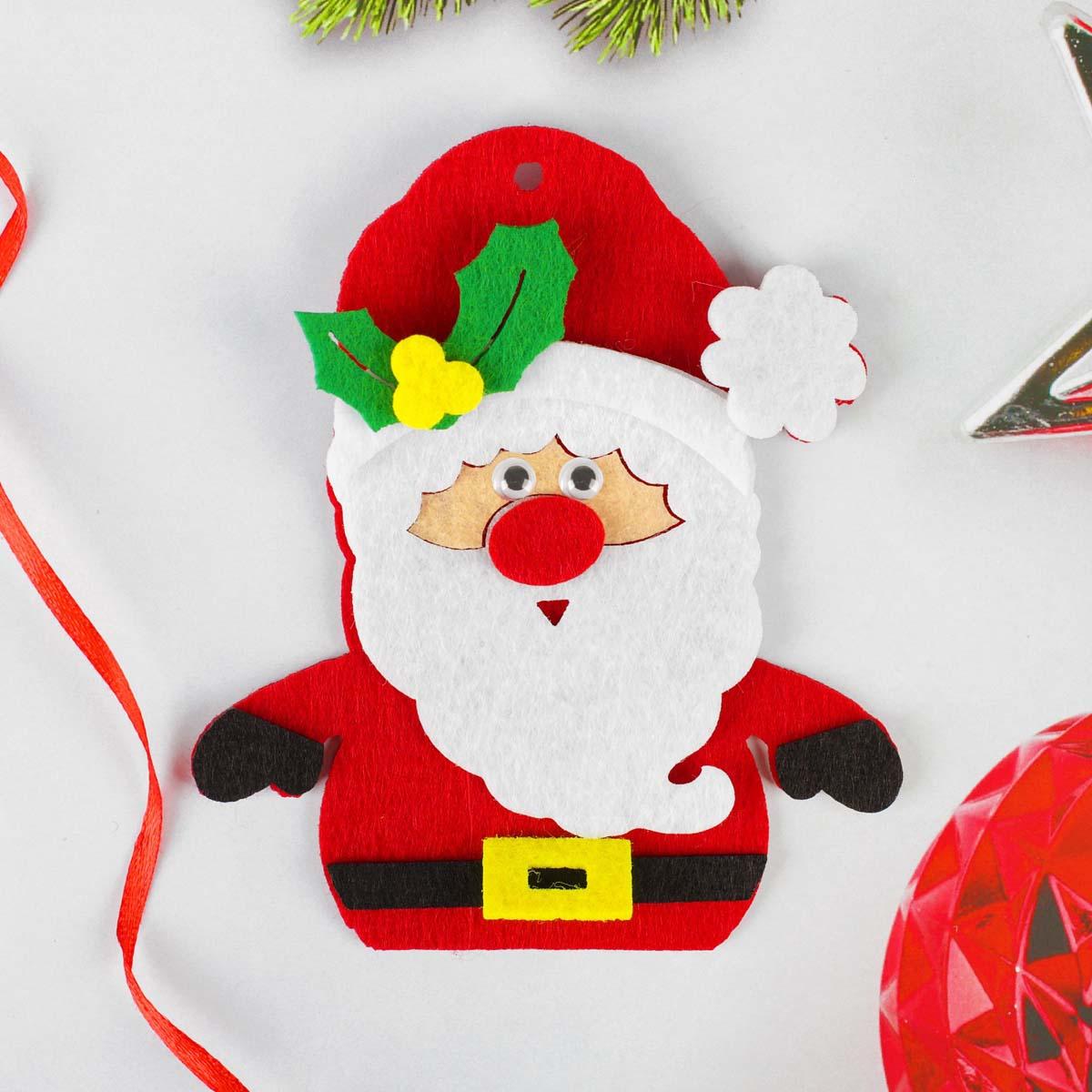 4298786 Набор для творчества - создай елочное украшение из фетра 'Дедушка мороз красный нос'