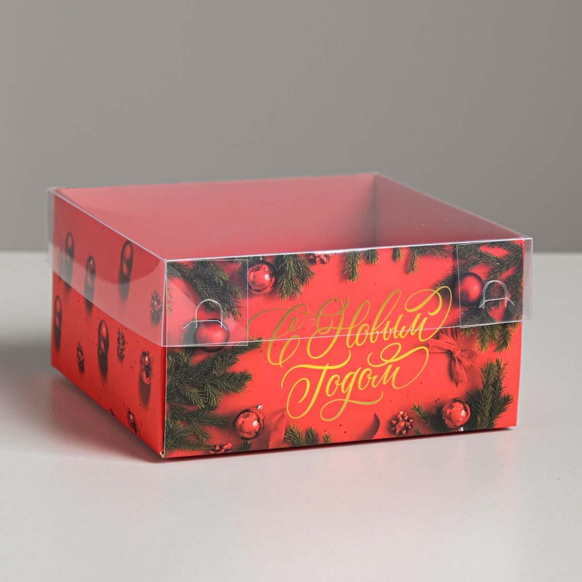5084113 Коробка с PVC крышкой «С Новым Годом!», 12*6*11,5 см