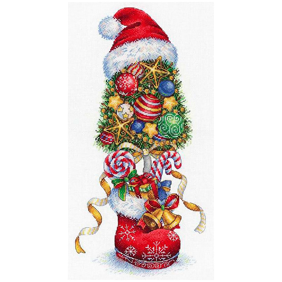 НВ-732 Набор для вышивания мулине МП Студия 'Топиарий Новогодний' 36*18 см