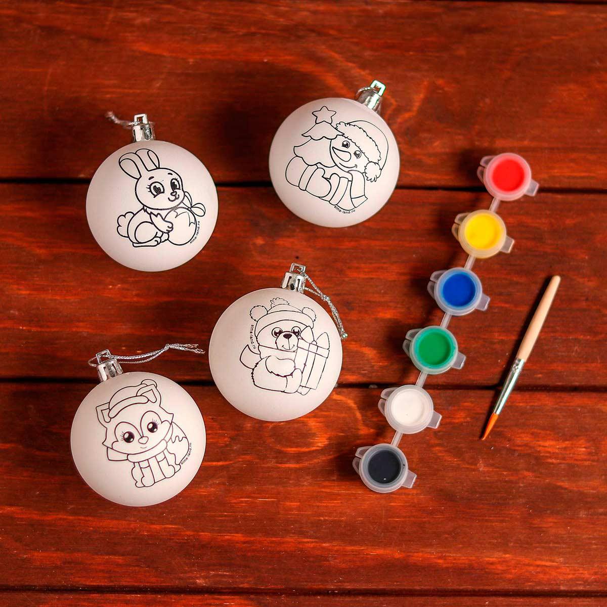 5066034 Набор для творчества 'Елочные шары под раскраску 'С новым годом' + краски, набобр 4 шт