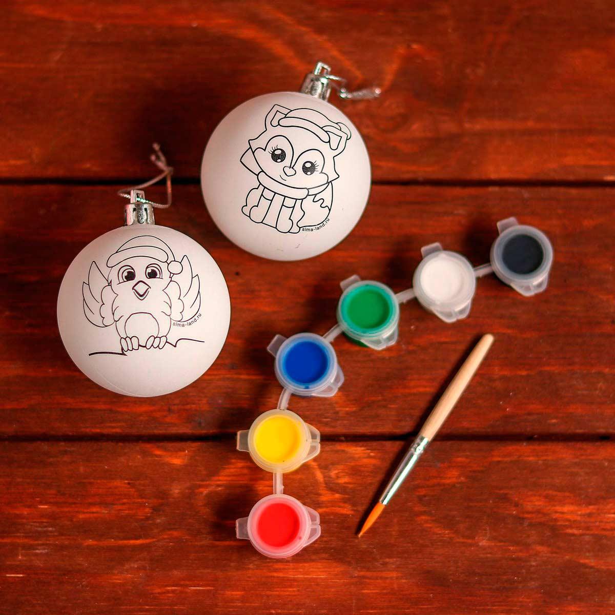 5066035 Набор для творчества 'Елочные шары под раскраску 'Новогодняя сказка' + краски, набор 2 шт