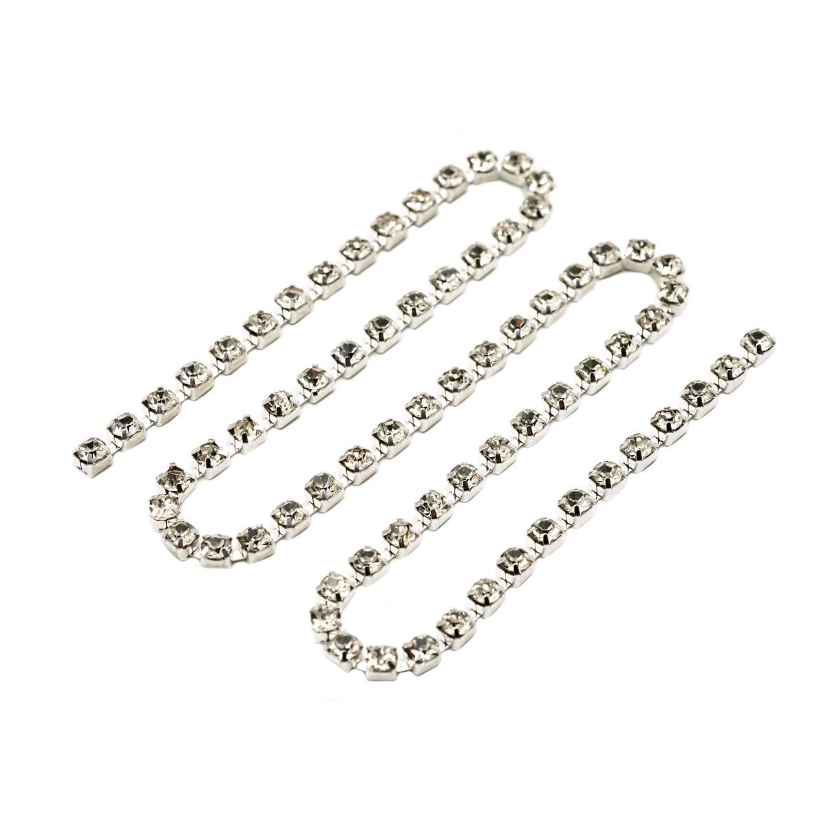ЦС001СЦ3 Стразовые цепочки (серебро), цвет: белый, размер 3 мм, 30 см/упак.