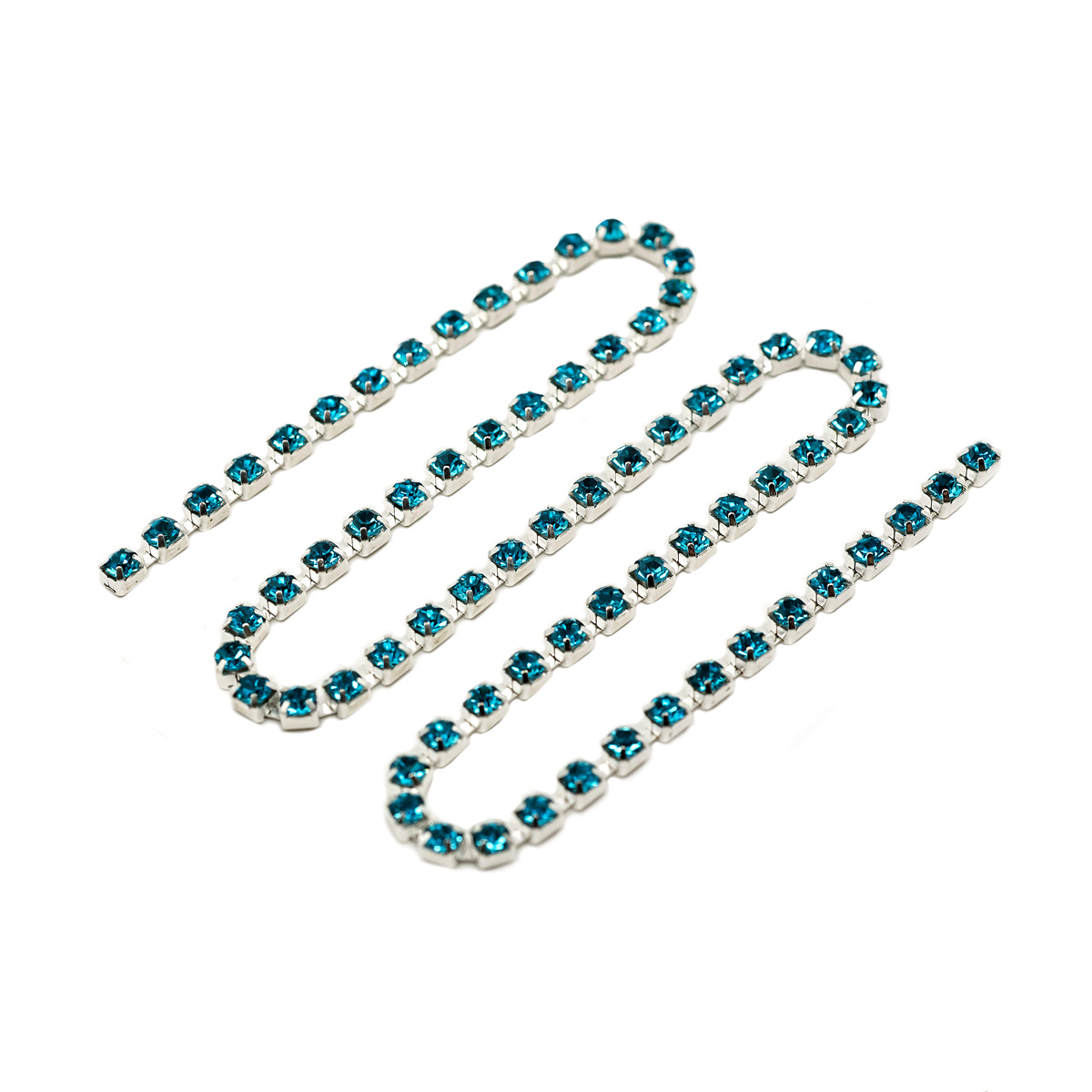 ЦС003СЦ3 Стразовые цепочки (серебро), цвет: ярко голубой,
