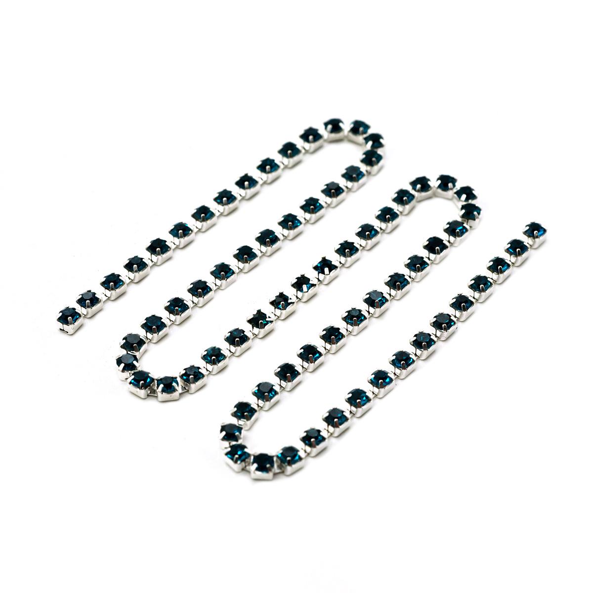 ЦС004СЦ3 Стразовые цепочки (серебро), цвет: лазурный, размер