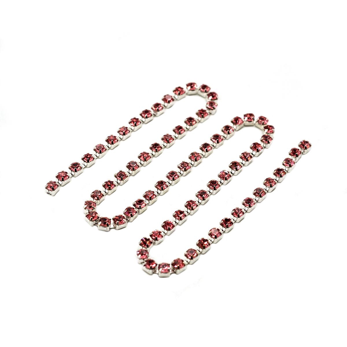 ЦС006СЦ3 Стразовые цепочки (серебро), цвет: розовый, размер 3 мм, 30 см/упак.