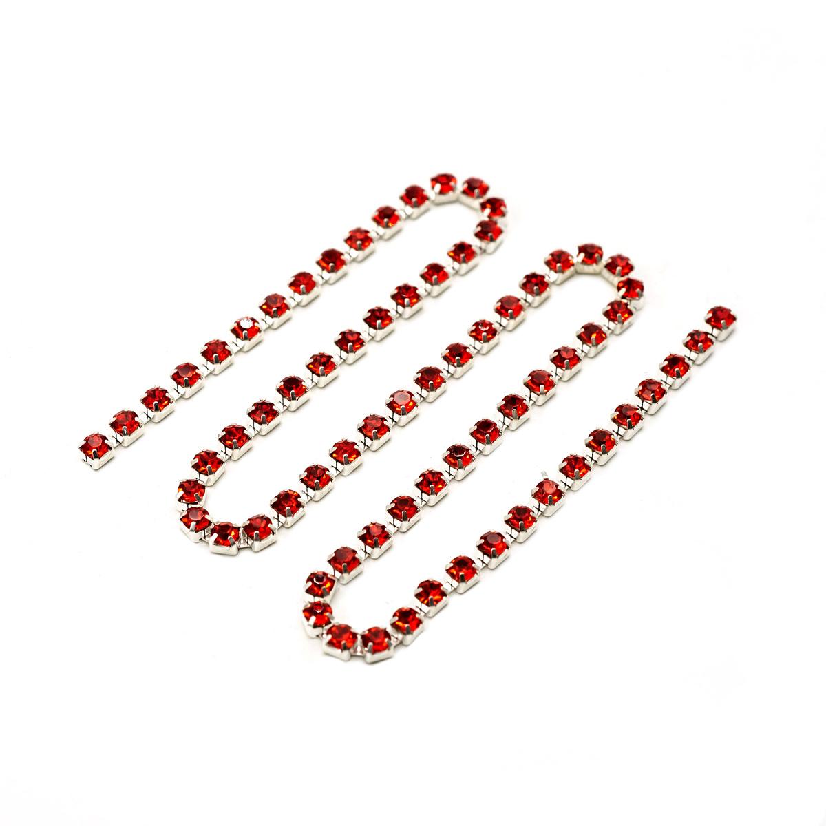 ЦС007СЦ3 Стразовые цепочки (серебро), цвет: красный, размер 3 мм, 30 см/упак.