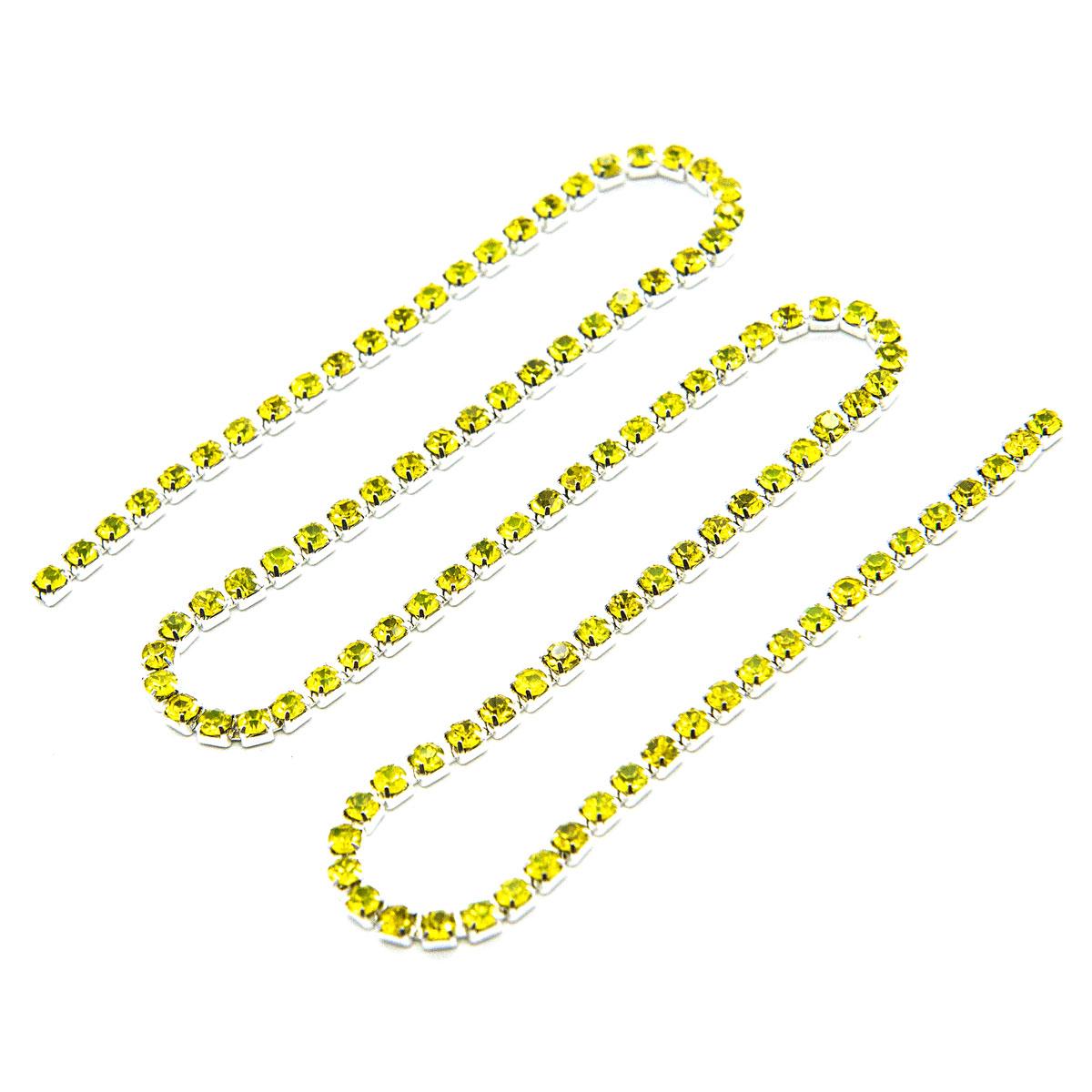 ЦС008СЦ2 Стразовые цепочки (серебро), цвет: желтый, размер 2 мм, 30 см/упак.