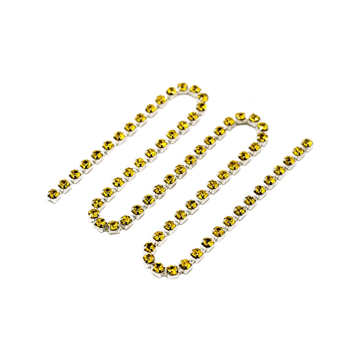 ЦС008СЦ3 Стразовые цепочки (серебро), цвет: желтый, размер 3 мм, 30 см/упак.