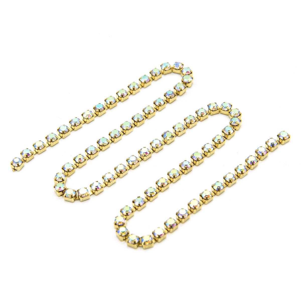 ЦС002ЗЦ3 Стразовые цепочки (золото), цвет: белый с AB покрытием, размер 3 мм, 30 см/упак.