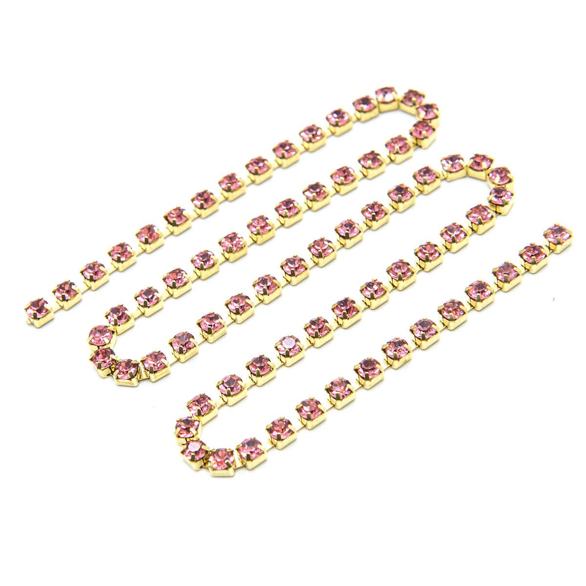ЦС006ЗЦ3 Стразовые цепочки (золото), цвет: розовый, размер 3 мм, 30 см/упак.
