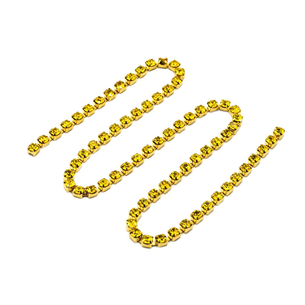 ЦС008ЗЦ3 Стразовые цепочки (золото), цвет: желтый, размер 3 мм, 30 см/упак.