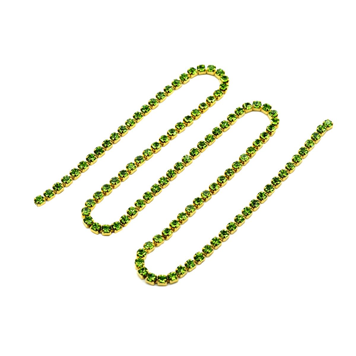 ЦС009ЗЦ2 Стразовые цепочки (золото), цвет: зеленый, размер 2 мм, 30 см/упак.