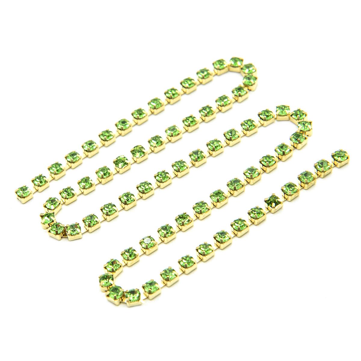 ЦС009ЗЦ3 Стразовые цепочки (золото), цвет: зеленый, размер 3 мм, 30 см/упак.