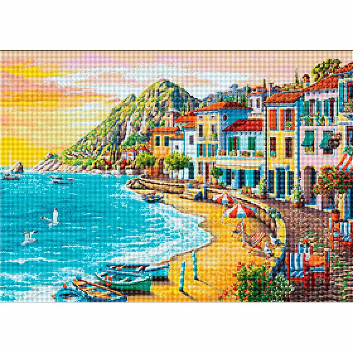 Ag 2492 Набор д/изготовления картин со стразами 'Морское побережье' 70*50см Гранни