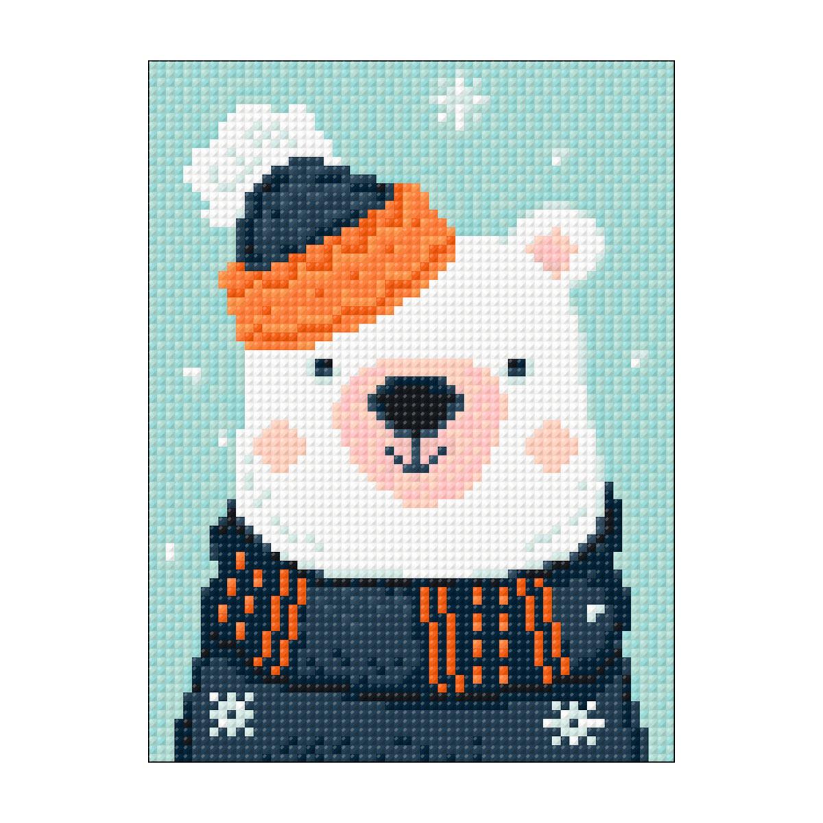 Ag 2531 Набор д/изготовления картин со стразами 'Снежный мишка' 15*20см Гранни