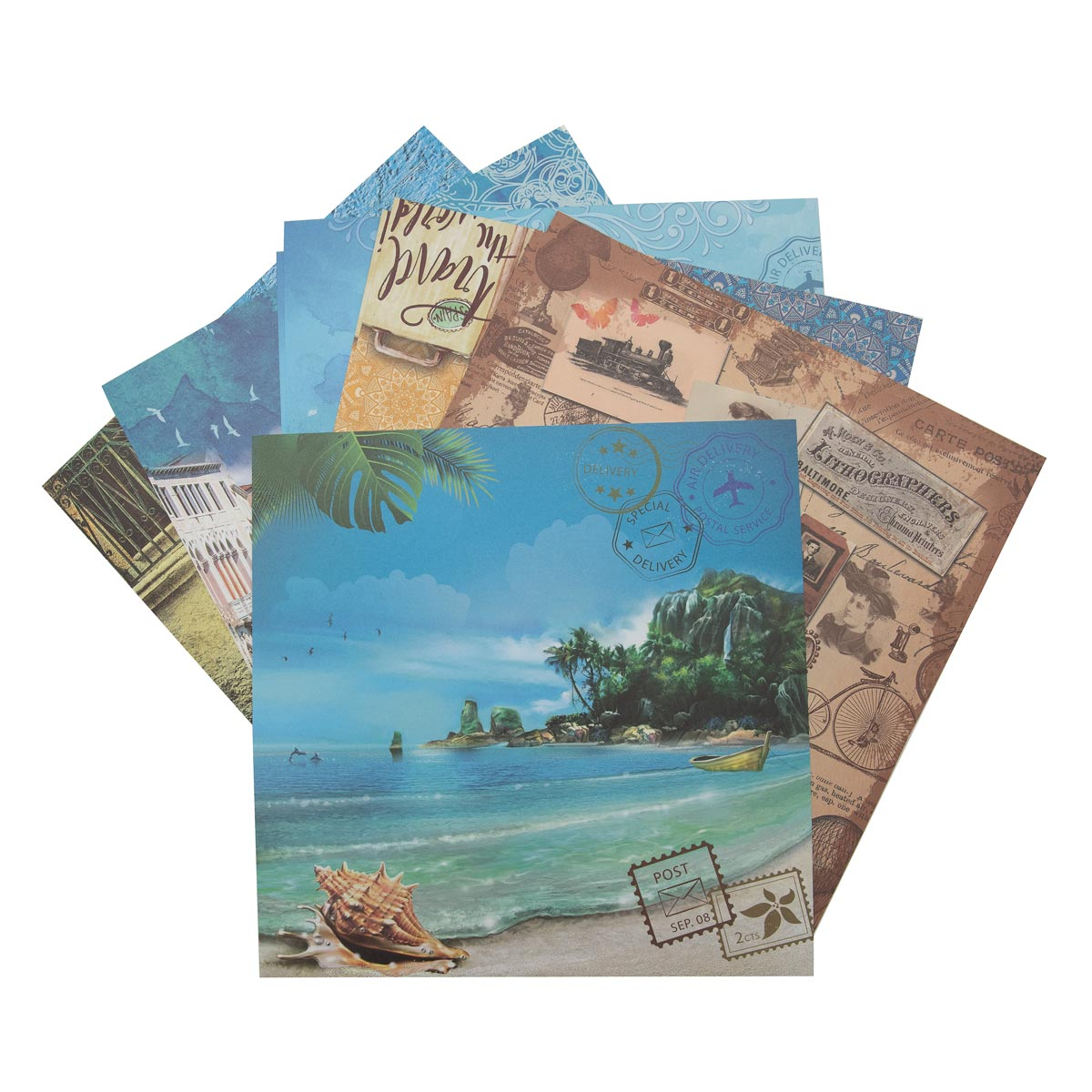 С2782-05 Цветная бумага для скрапбукинга. 12л. 30x30 'Отпуск'.