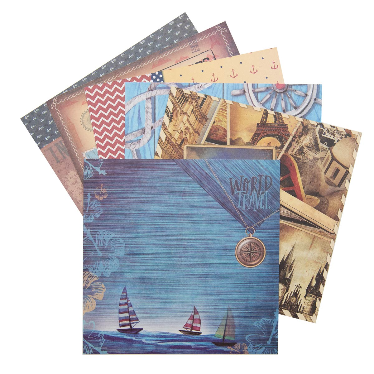 С2781-03 Цветная бумага для скрапбукинга. 6л. 15x15 'Путешествия'.