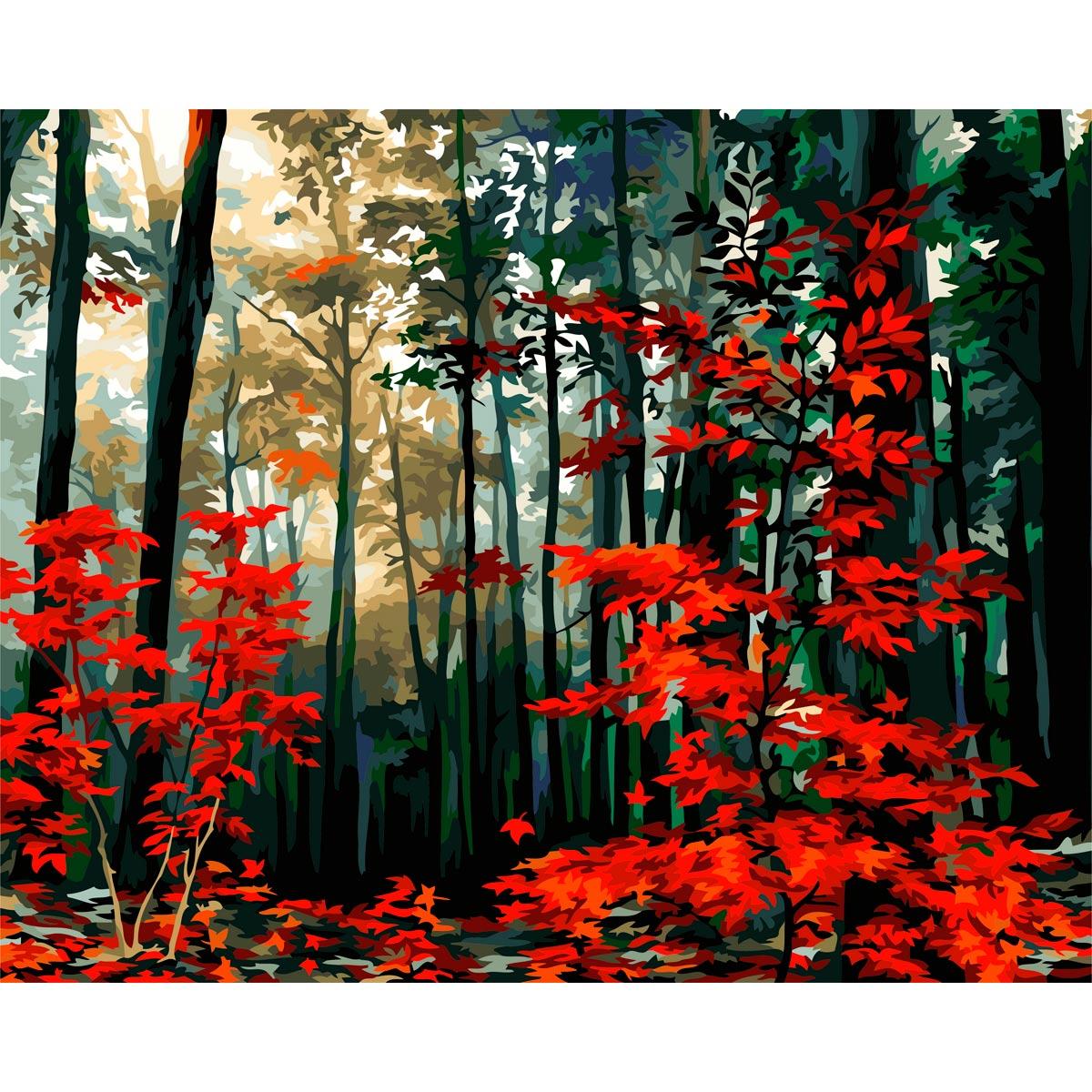A140 Набор для рисования по номерам 'Утро в осеннем лесу' 40*50см