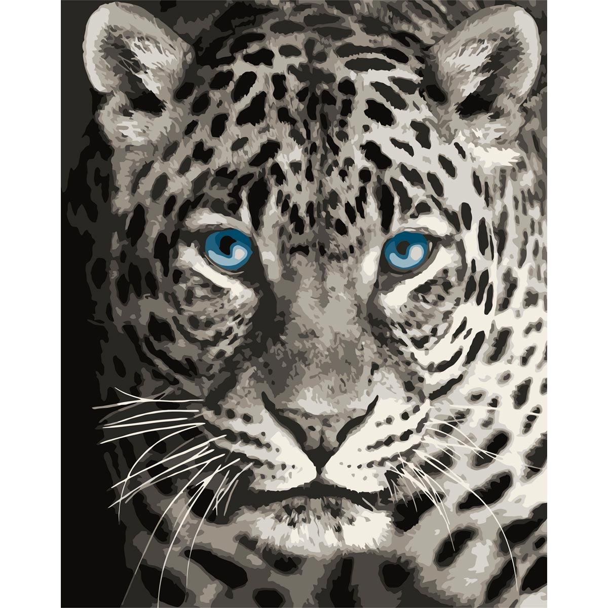 F012 Набор для рисования по номерам 'Голубоглазый леопард' 40*50см