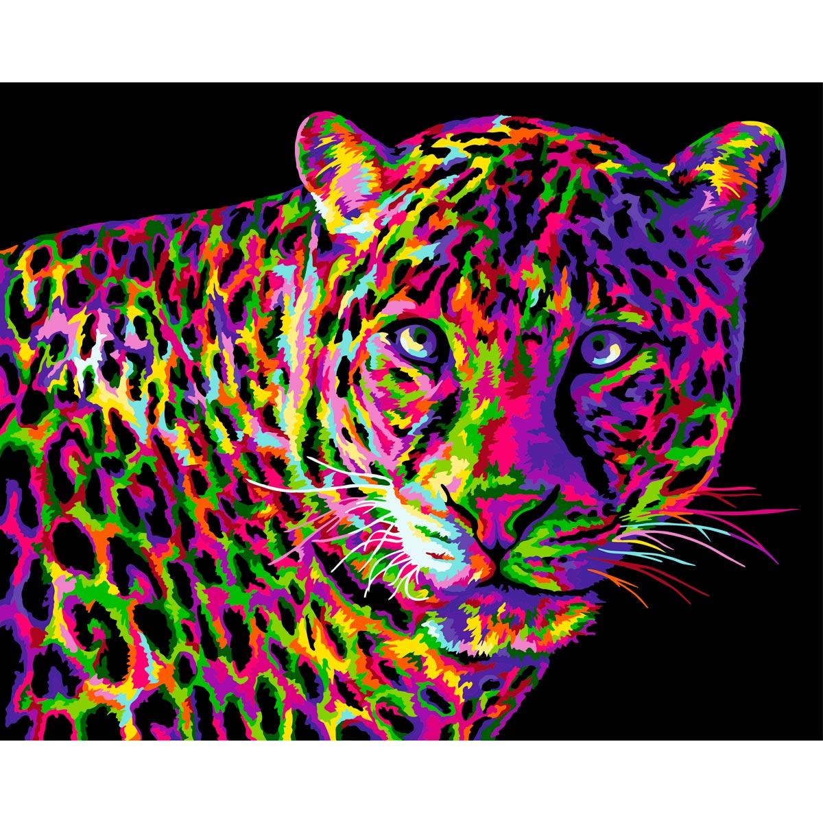 H141 Набор для рисования по номерам 'Цветной леопард' 40*50см