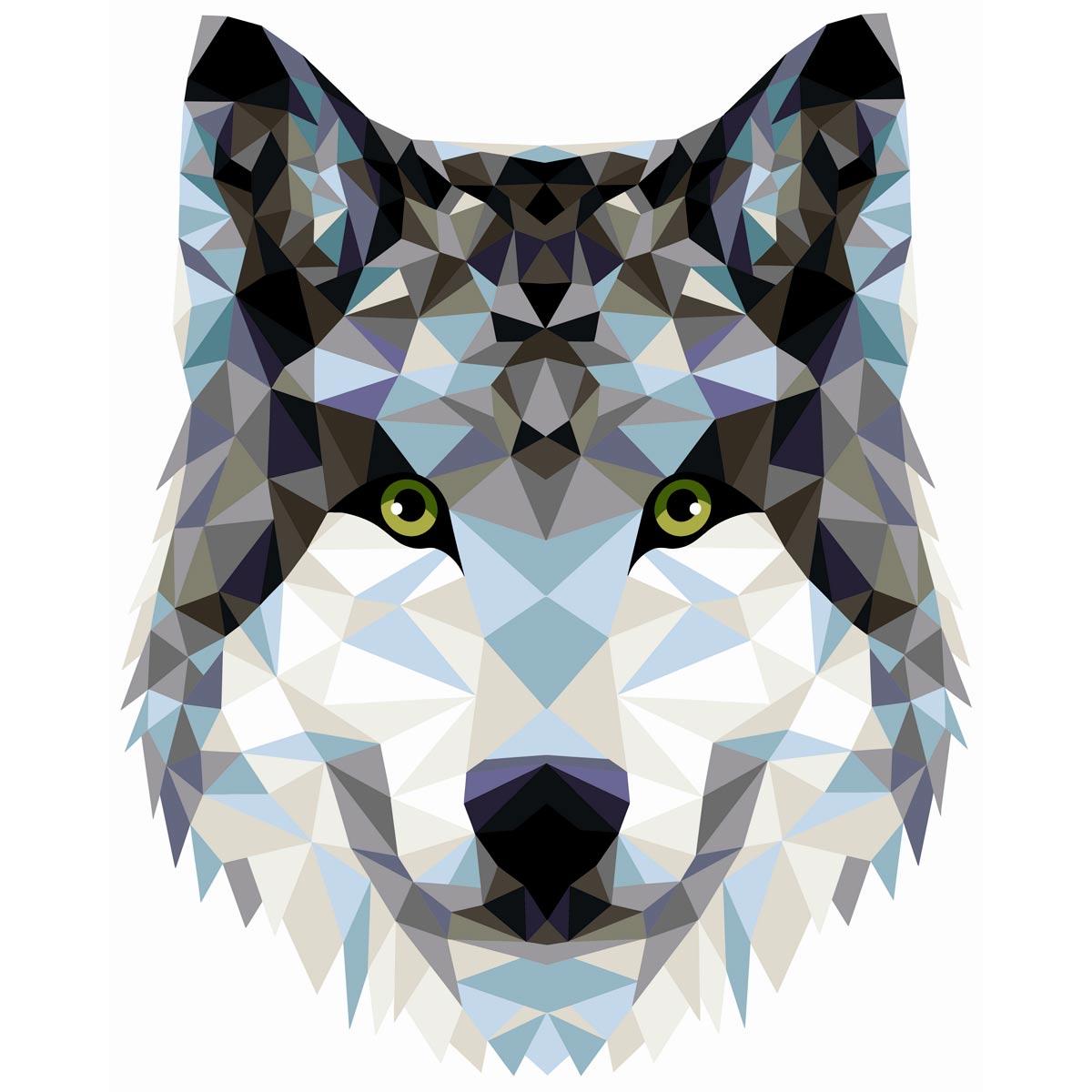 P004 Набор для рисования по номерам 'Волк' (полигональный стиль) 40*50см