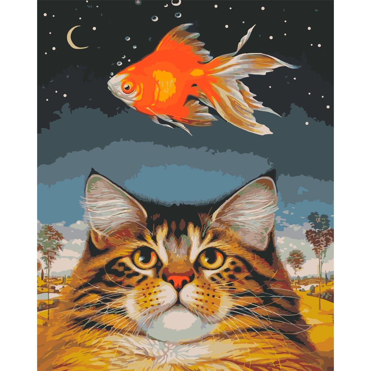 HS1201 Набор для рисования по номерам 'Золотая рыбка' 40*50см