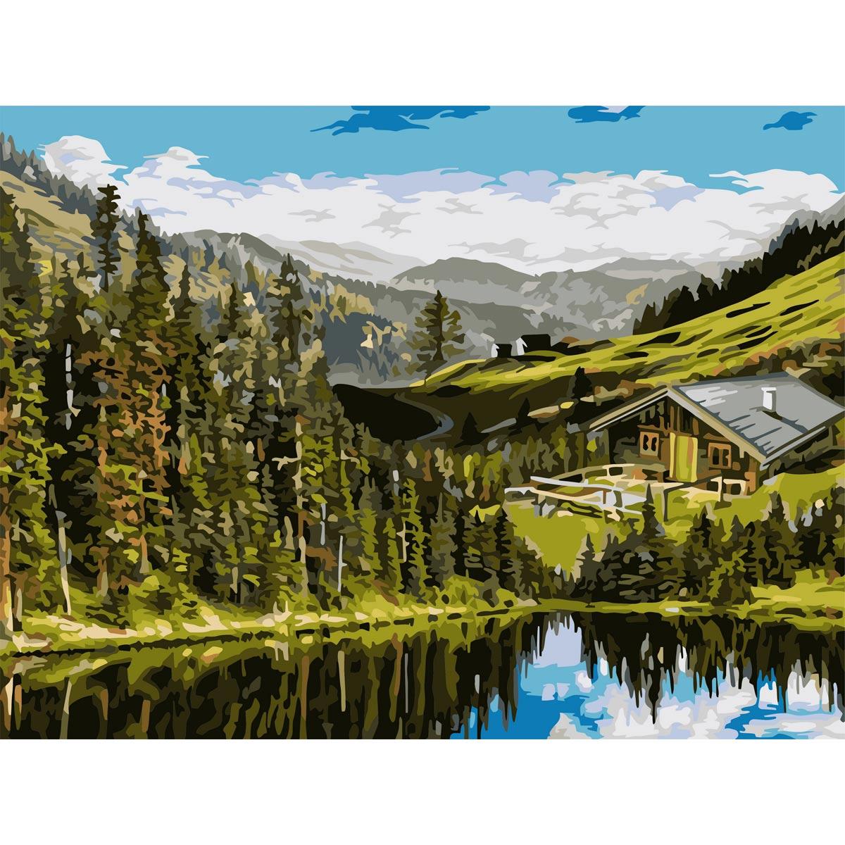 A139 Набор для рисования по номерам 'Домик на холмах' 40*50см