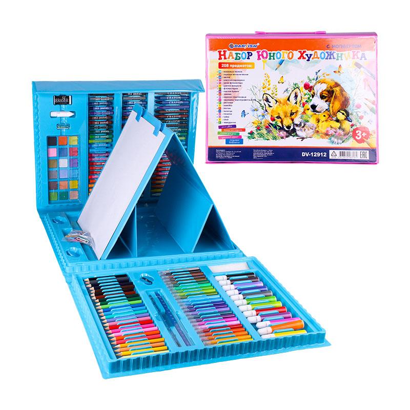 DV-12912 Набор для юного художника 208 предметов в чемодане с мольбертом цвет голубой