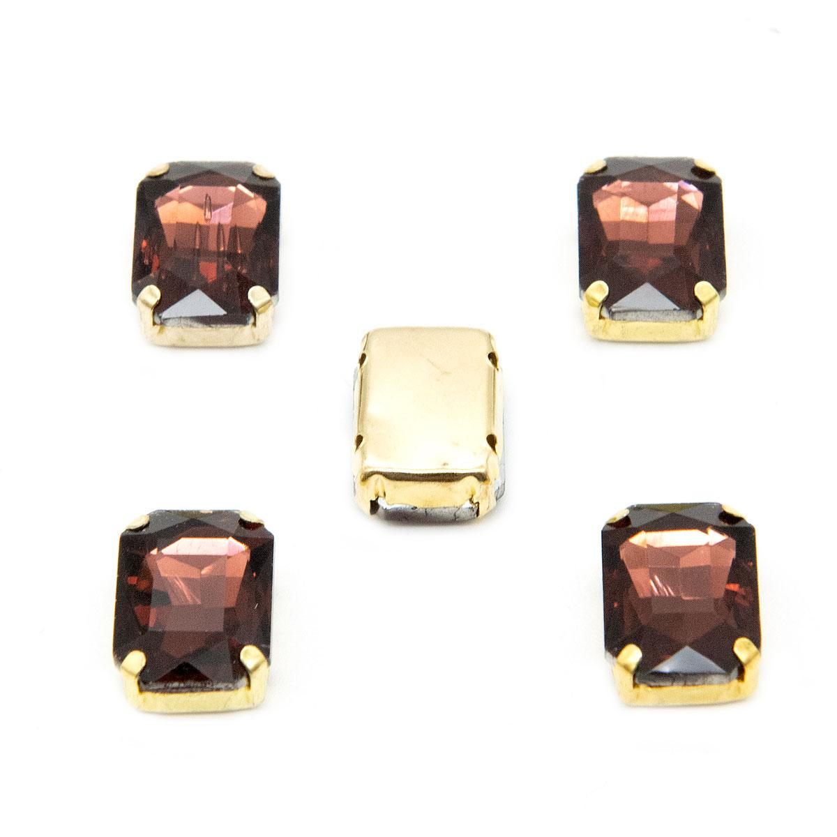 ПЦ004НН1014 Хрустальные стразы в цапах прямоугольные (золото) бургунди 10*14мм, 5шт/упак Астра