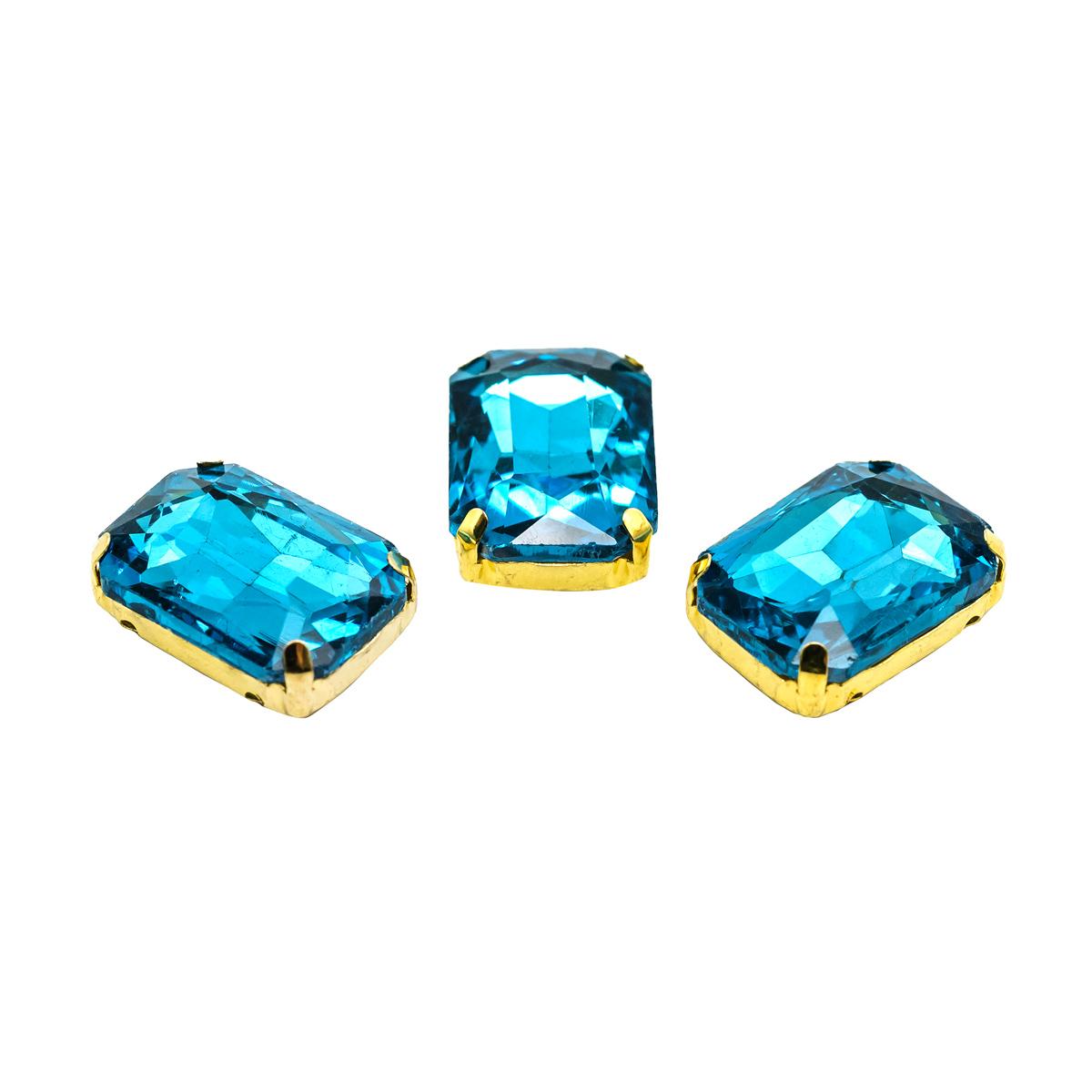 ПЦ008НН1318 Хрустальные стразы в цапах прямоугольные (золото) ярко-голубой 13*18мм, 3шт/упак Астра