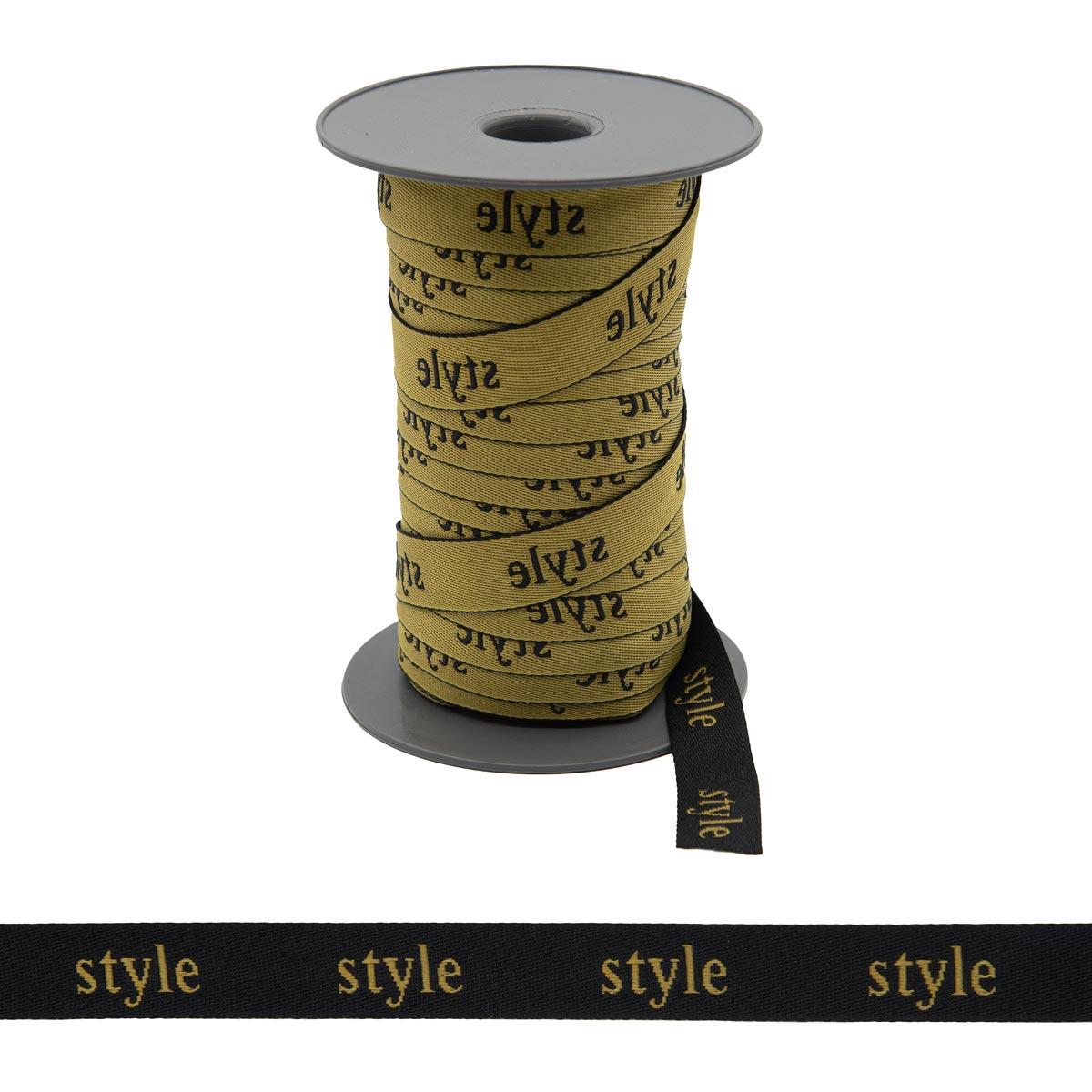140020 Тесьма жаккардовая 'style' 20мм*50м, черный/желтый TPX13-0941