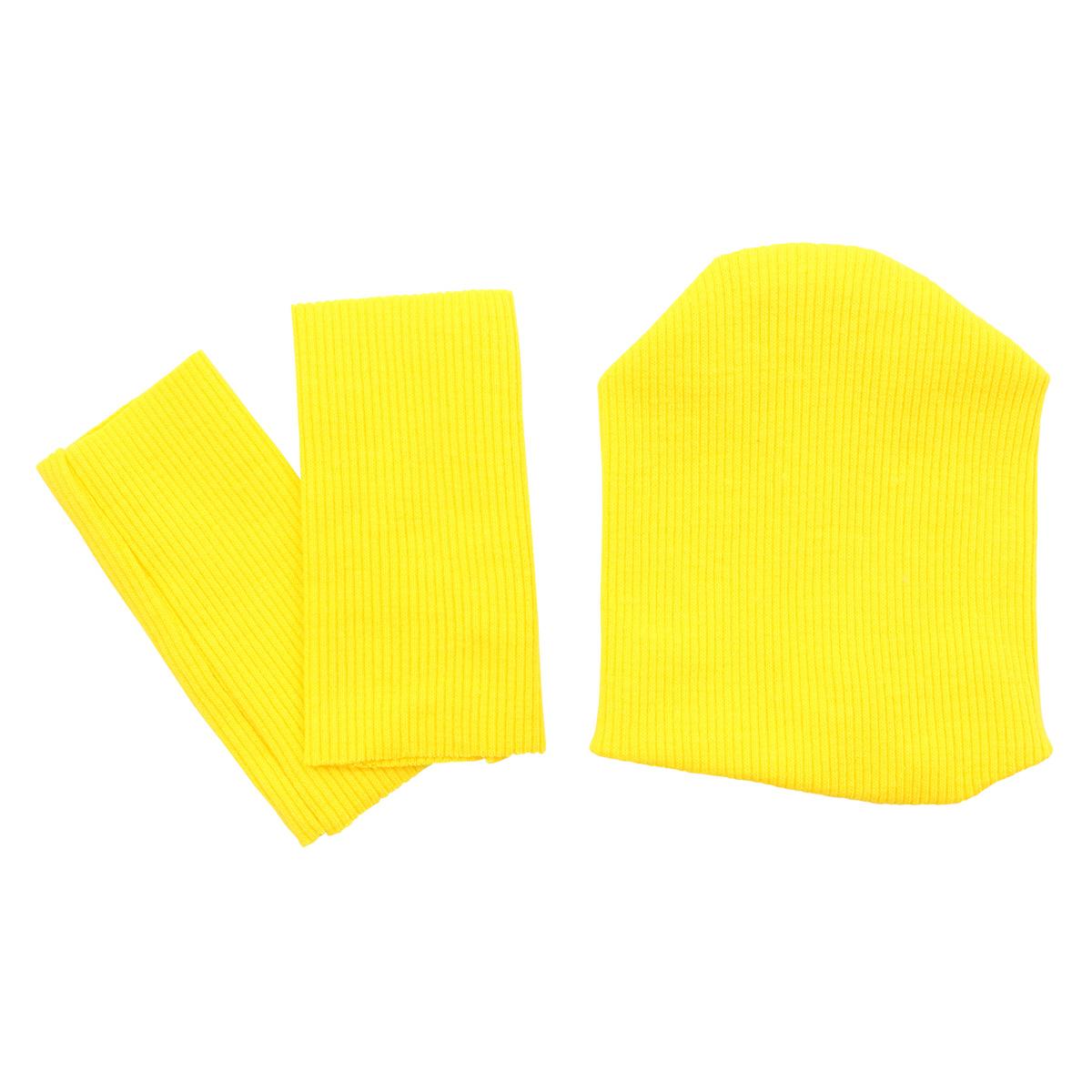 28875 Комплект одежды для игрушек цв.жёлтый : шапка/ гетры 9,5см*10см/ 3см*8см. Состав: 95% х/б+5% лайкры