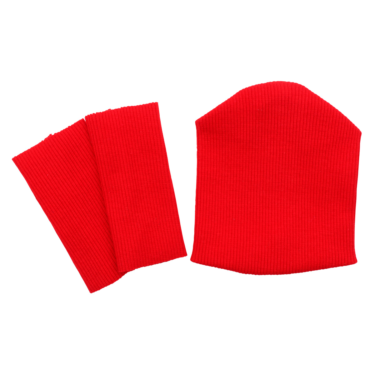 28875 Комплект одежды для игрушек цв.красный: шапка/ гетры 9,5см*10см/ 3см*8см. Состав: 95% х/б+5% лайкры