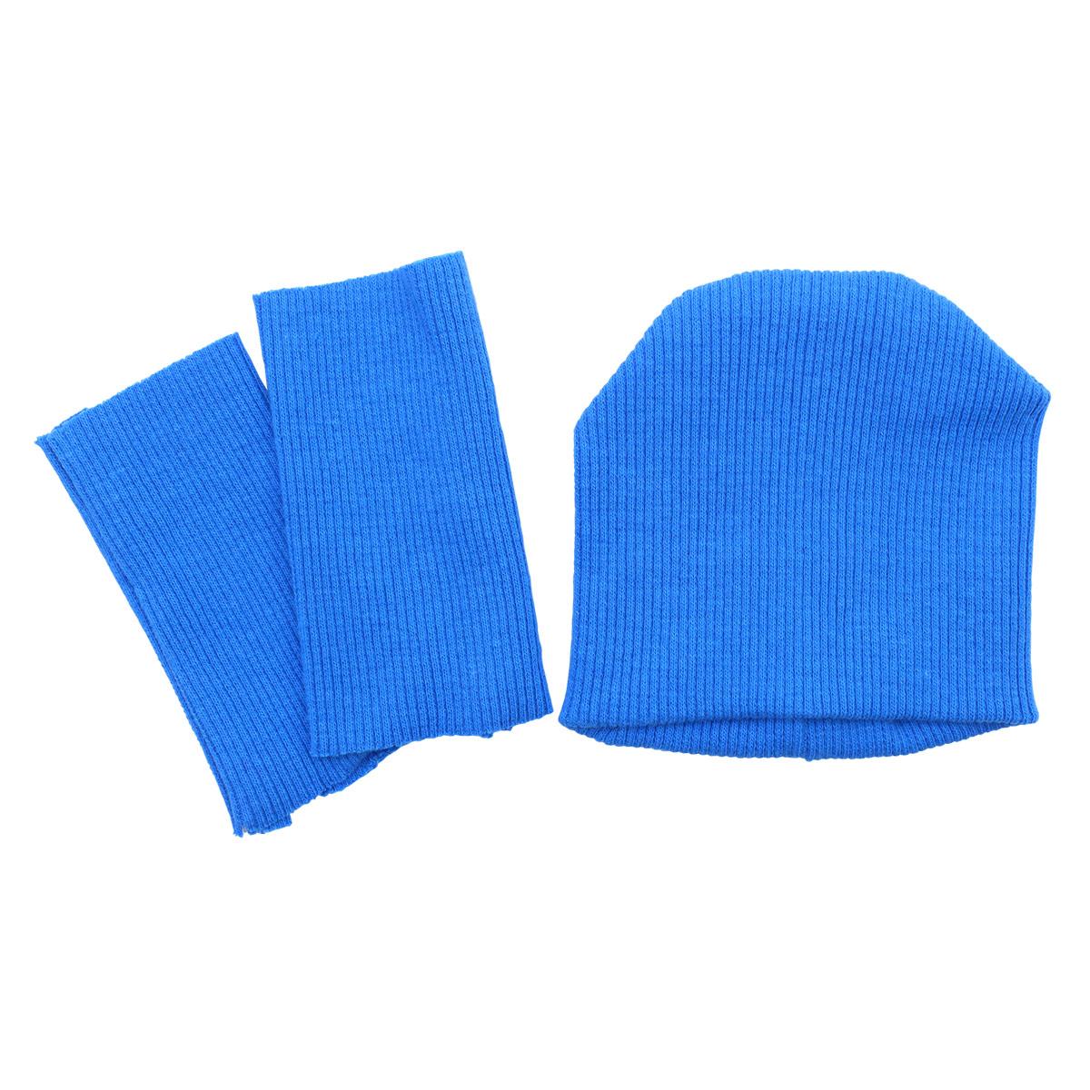 28875 Комплект одежды для игрушек цв.синий : шапка/ гетры 9,5см*10см/ 3см*8см. Состав: 95% х/б+5% лайкры