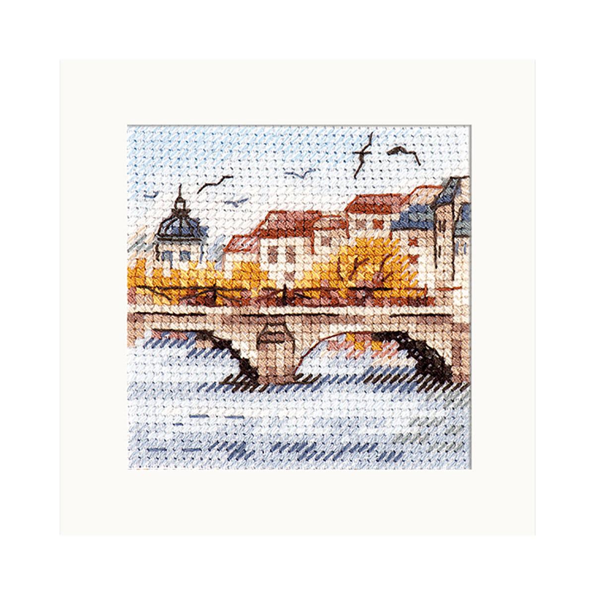 0-216 Набор для вышивания АЛИСА 'Осень в городе. Чайки над мостом' 7x7см