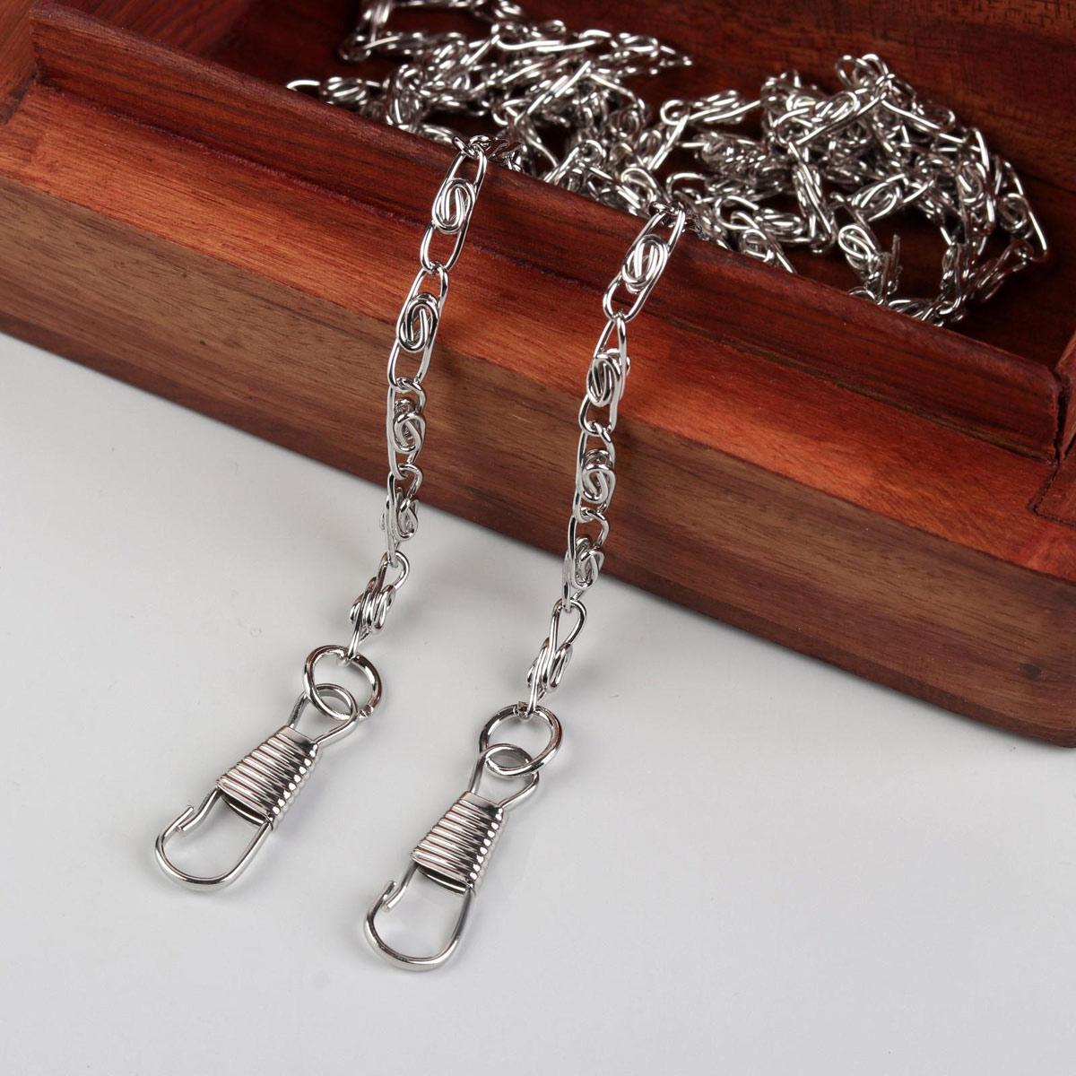3636028 Цепочка для сумки с карабинами 120см 13*4мм серебряный