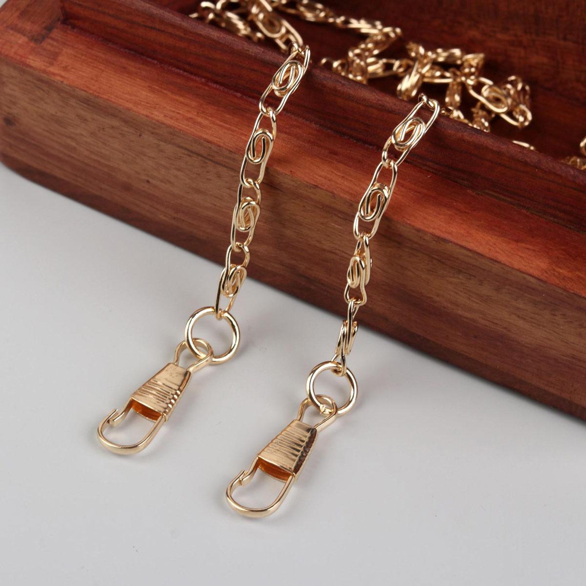3636029 Цепочка для сумки с карабинами 120см 13*4мм золотой