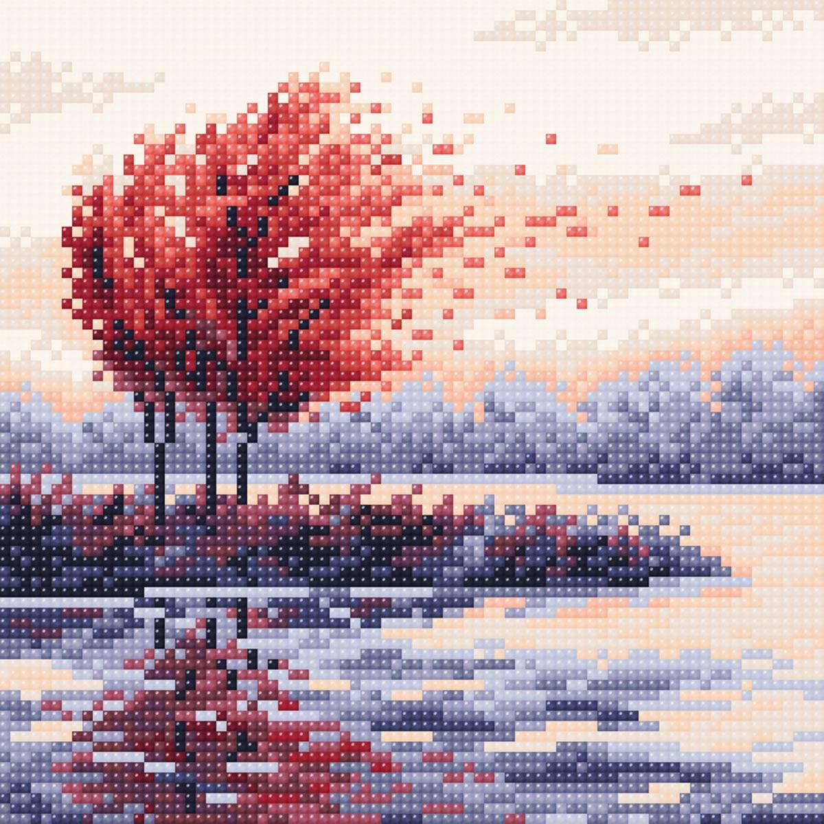 МС 055 Алмазная мозаика 'Красная осень'20*20см Brilliart