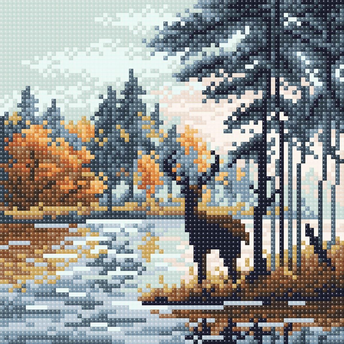 МС 056 Алмазная мозаика 'Олень в лесу'20*20см