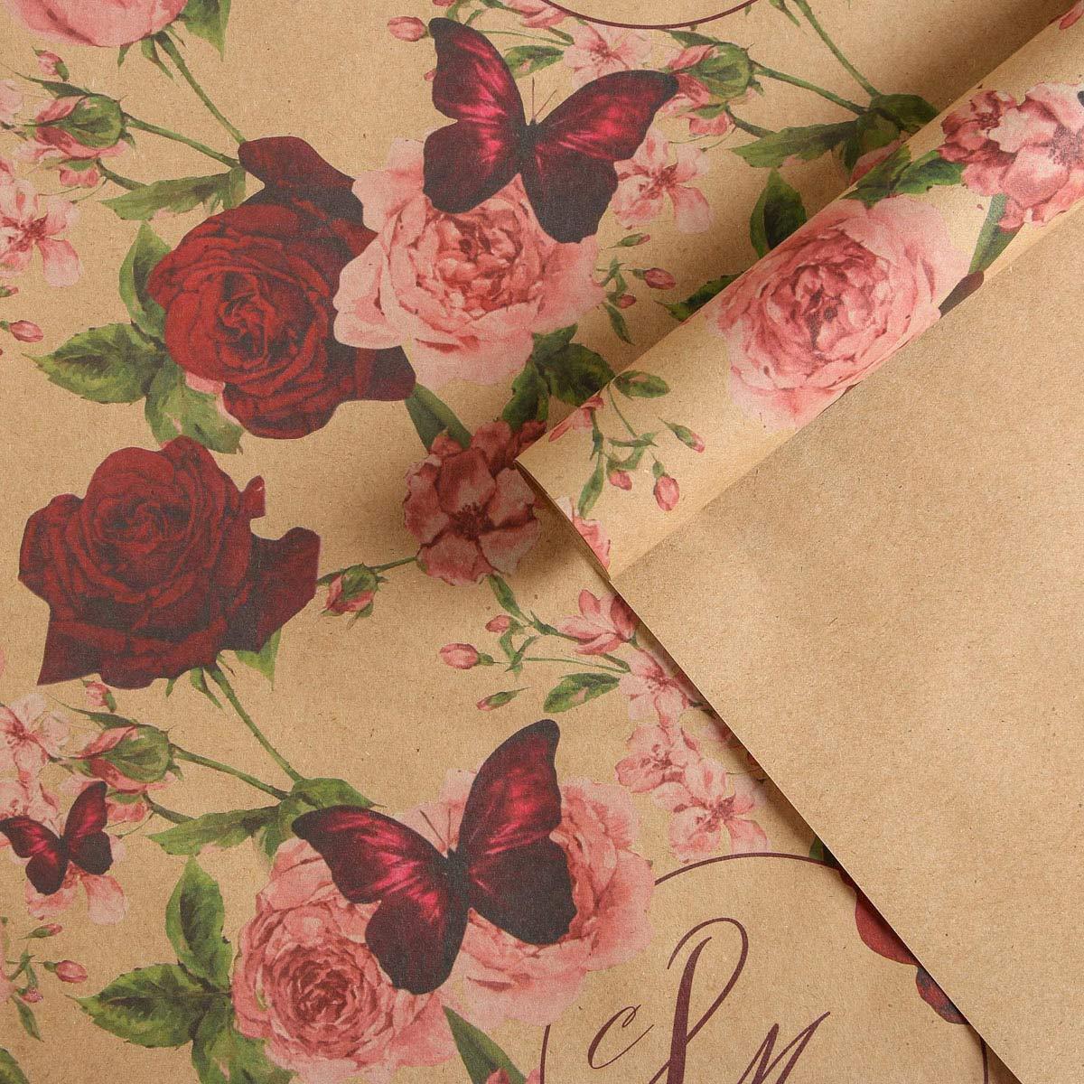 5351654 Бумага упаковочная крафтовая «Розы на 8 марта», 50*70 см