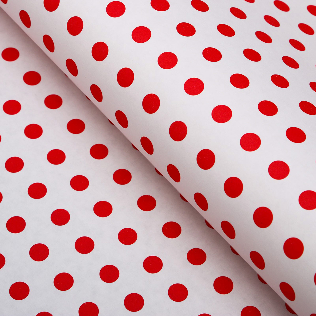 4878351 Бумага упаковочная, 'Горох крупный', крафт белый, красная, 50*70 см
