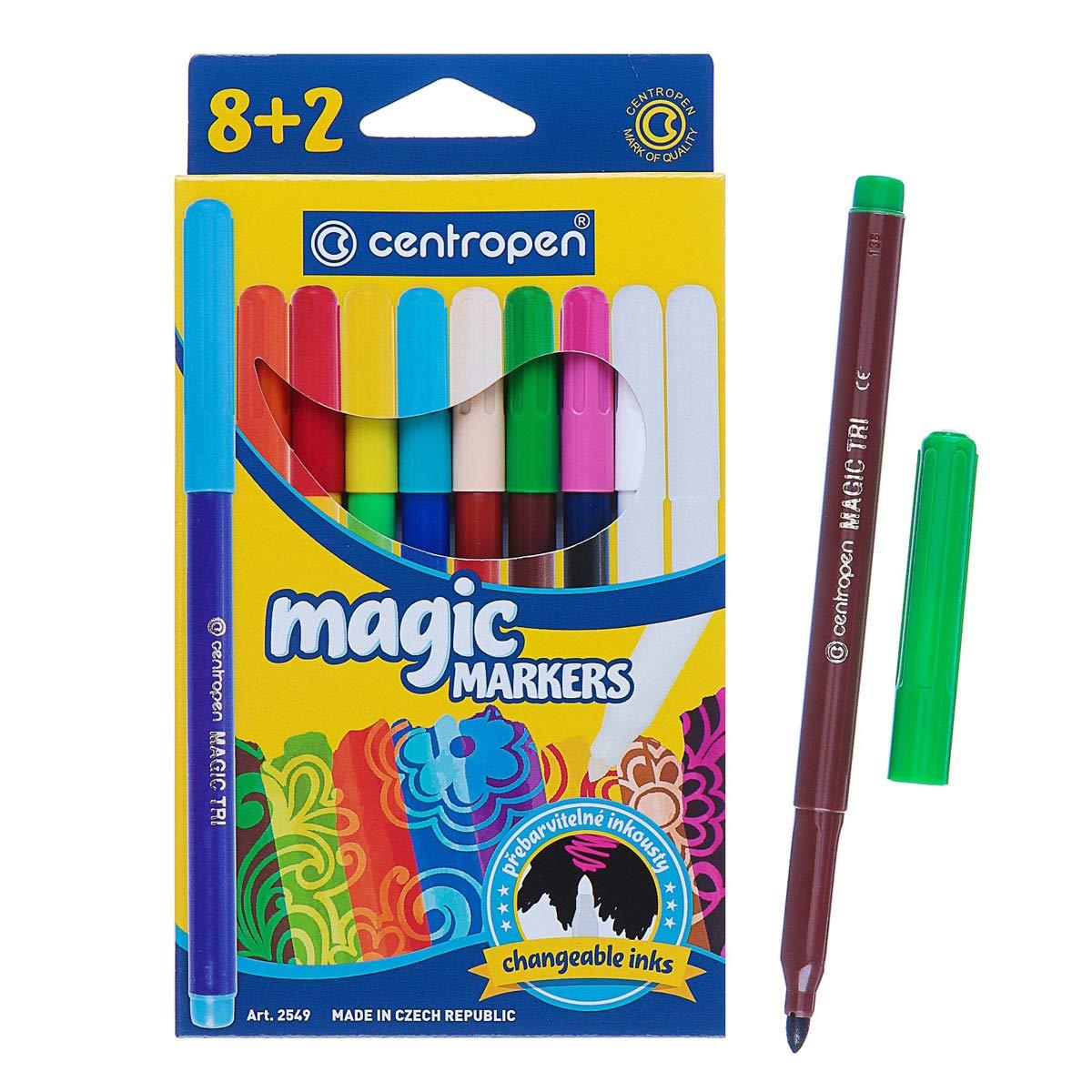 2468412 Фломастеры 10цв 3.9 мм Centropen 2549 Magic, лин 1,8мм, мен цвет, 8цв+2поглатит, карт/уп