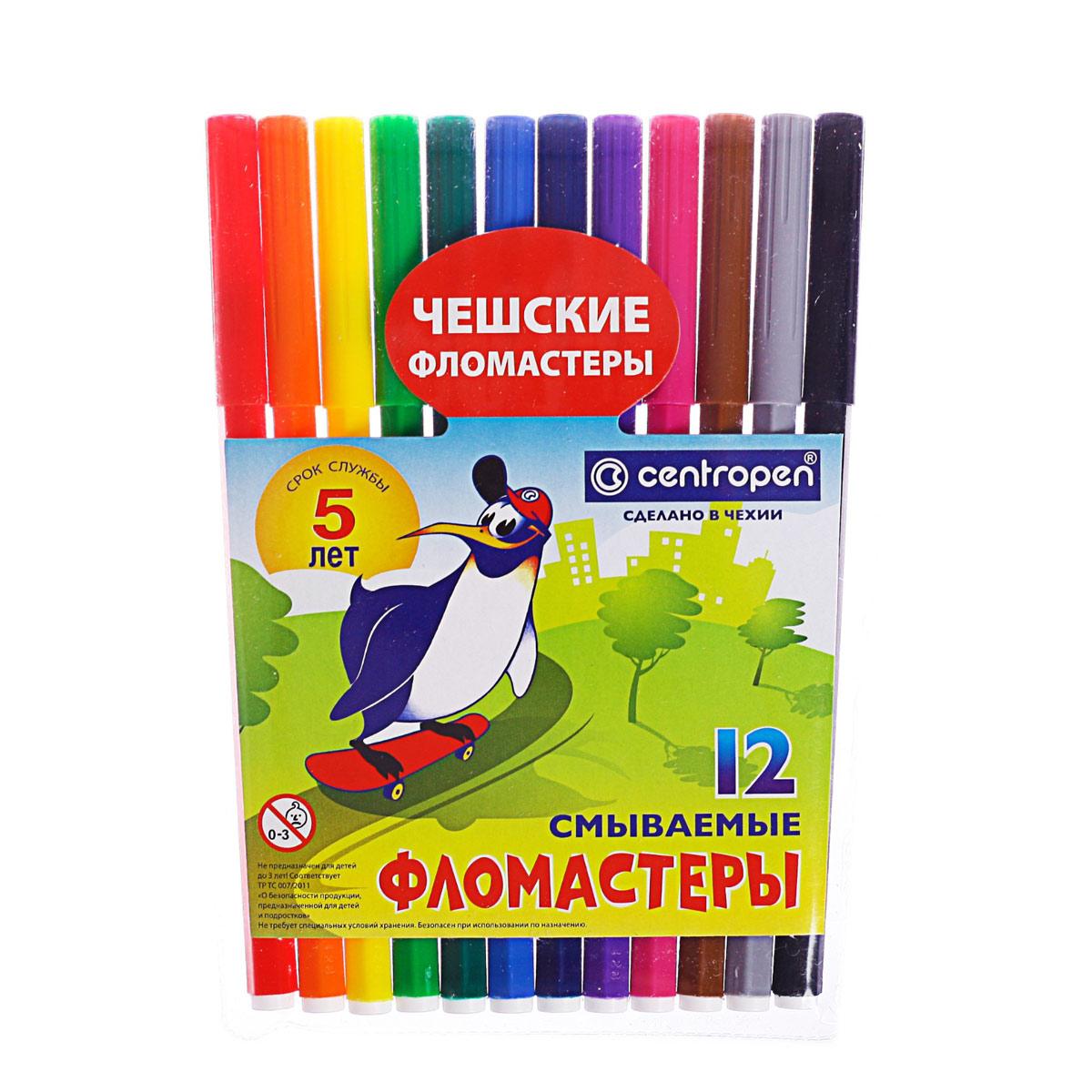 581459 Фломастеры 12цв Centropen 7790 Пингвины, пласт/конверт, линия 1.0мм